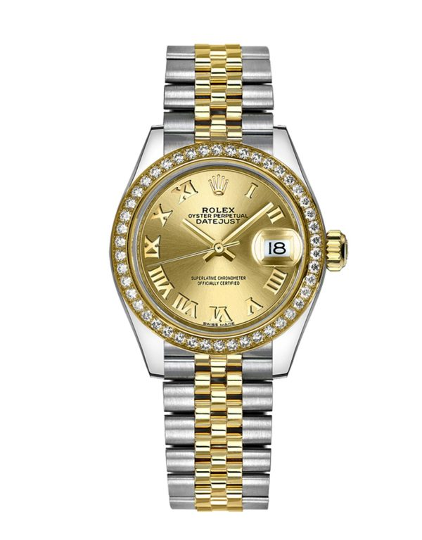Rolex Datejust 279383RBR 28mm Com caixa de relógio de aço inoxidável 904L Oystersteel - keeperwatches