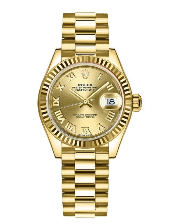 Rolex Datejust 279178 28mm Com relógio de caixa em ouro amarelo 18k - keeperwatches